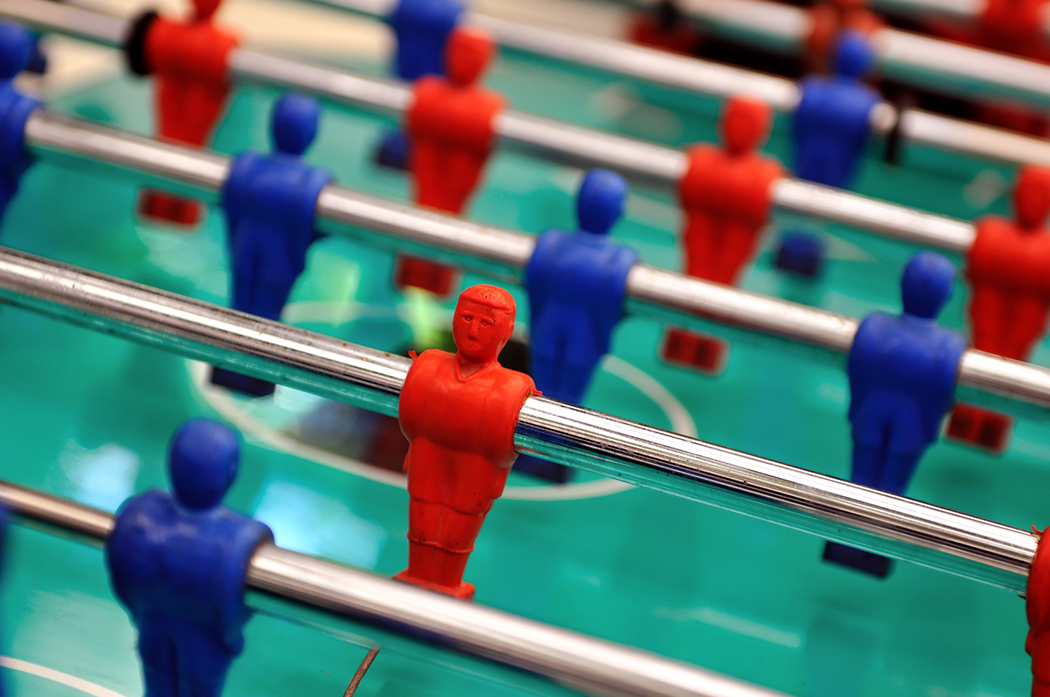 A game of table soccer